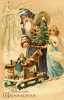 Free victorian santa Christmas cards for printing