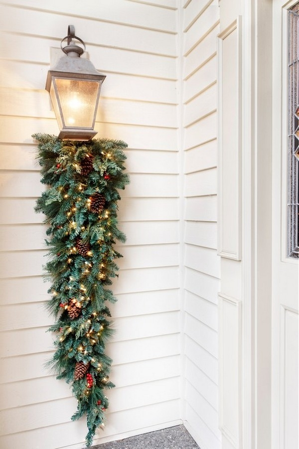 decorating christmas trees porch lamp with lighted greenery - Christmas Porch Light Decorations