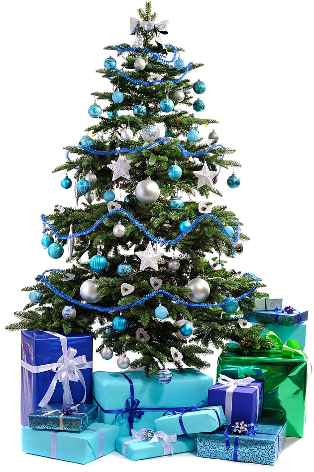 decorating christmas trees blue silver and white