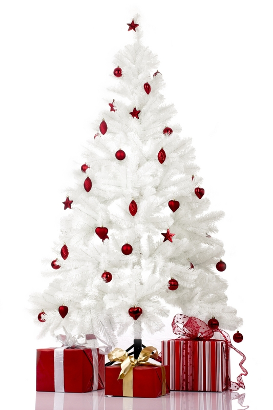 decorating christmas trees white with red ornaments
