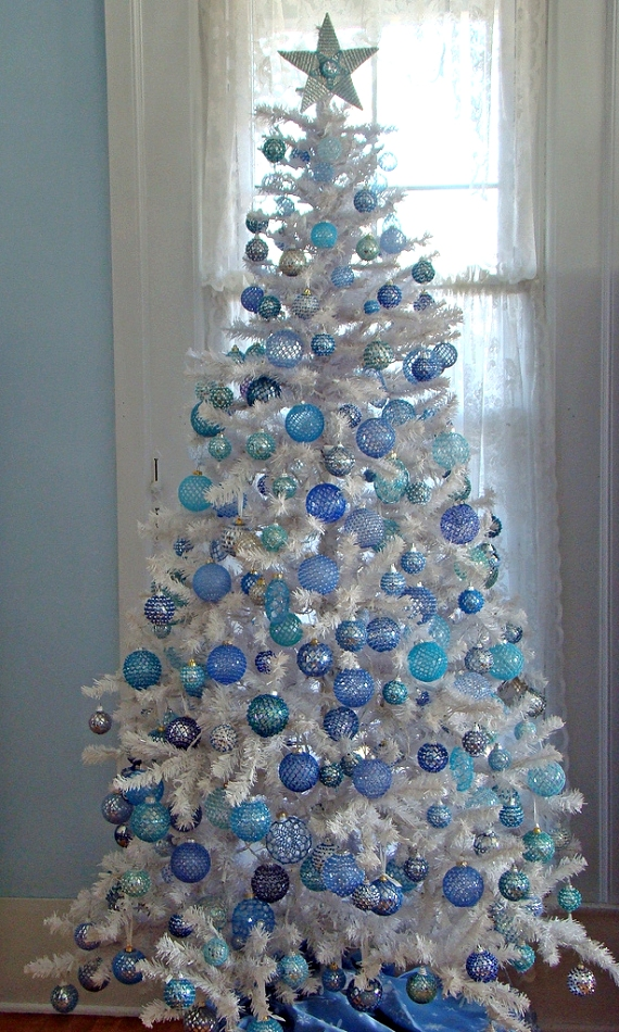 White christmas tree with blue and green decorations - photo#9