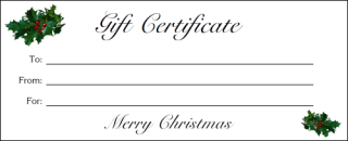 Free Printable Holly Gift Certificates